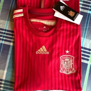 NWT Adidas 2014 Spain Home Soccer Jersey XL